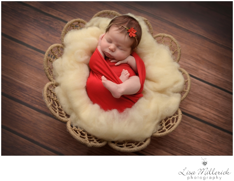 holiday picture ideas red newborn baby girl CT