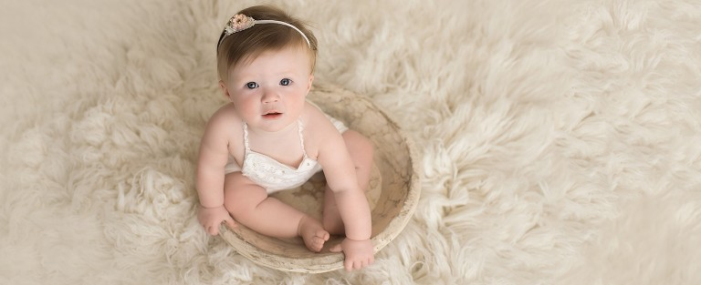 baby girl lacy white cream bowl photo simple