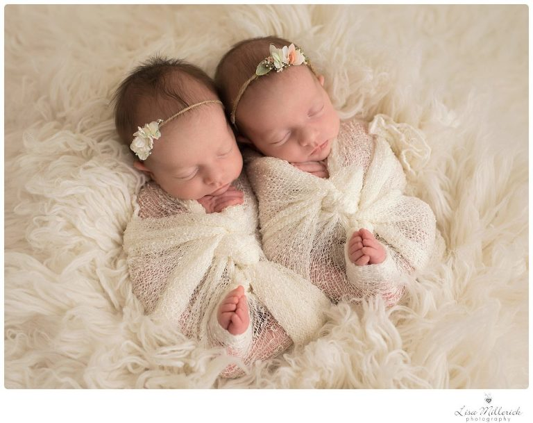 Wrapped newborn baby girl twins headbands