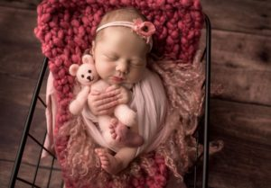 newborn baby girl pink teddy bear ct