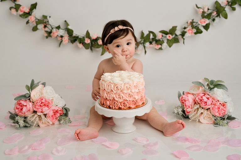 flowers cake smash one pink peach cream
