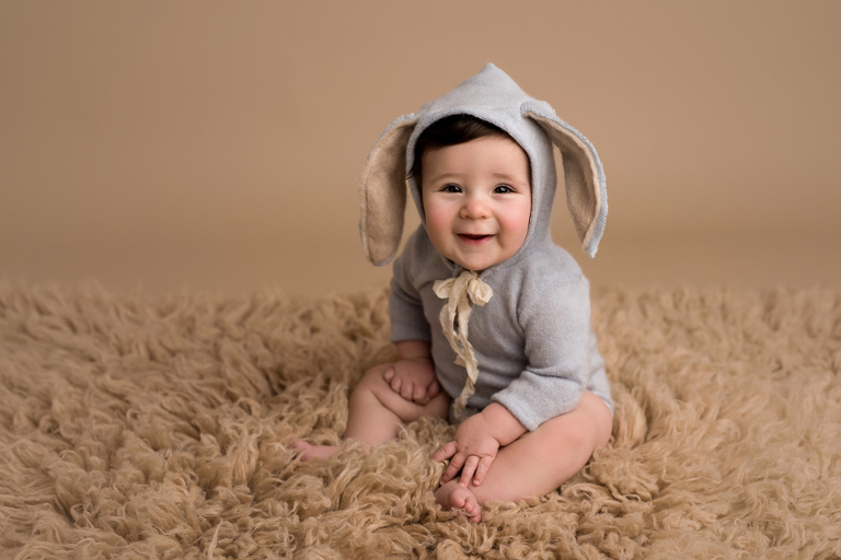 bunny baby boy sitting up milestone